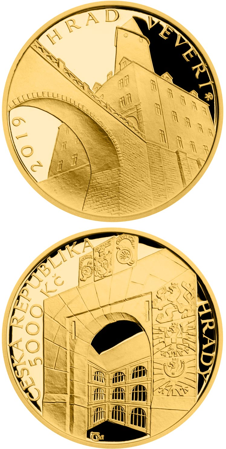 Image of 5000 koruna coin – Veveří | Czech Republic 2019.  The Gold coin is of Proof, BU quality.