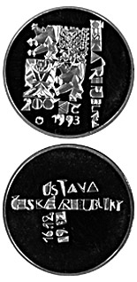 200 korun 1st anniversary of the adoption of the Constitution of theCzech Republic - 1993 - Series: Silver 200 kronen coins - Czech Republic