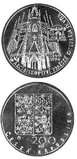 200 koruna coin 650th anniversary of the foundation of the Prague Archbisopric and laying of the cornestone of St.Vitus Cathedral | Czech Republic 1994