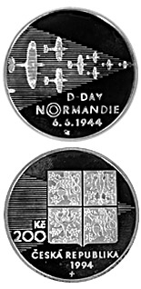 200 korun 50th anniversary of the Allied Landings in Normandy - 1994 - Series: Silver 200 kronen coins - Czech Republic