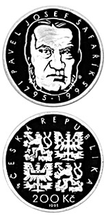 200 korun 200th anniversary of the birth of Pavel Josef  Šafařík - 1995 - Series: Silver 200 kronen coins - Czech Republic