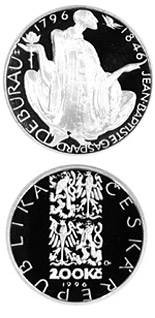 Image of 200th anniversary of the birth of Jean-Baptiste Gaspard Deburau – 200 koruna coin Czech Republic 1996.  The Silver coin is of Proof, BU quality.