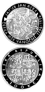 Image of 200 koruna coin - 200th anniversary of Czech Christmas Mass by composer  Jakub Jan Ryba | Czech Republic 1996.  The Silver coin is of Proof, BU quality.