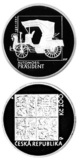 200 koruna coin 100th anniversary of production of  The Präsident, the first passenger car in Central Europe | Czech Republic 1997