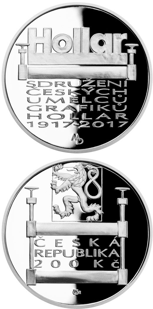 Image of 200 koruna coin - Foundation of Hollar, the Association of Czech Graphic Artists  | Czech Republic 2017.  The Silver coin is of Proof, BU quality.