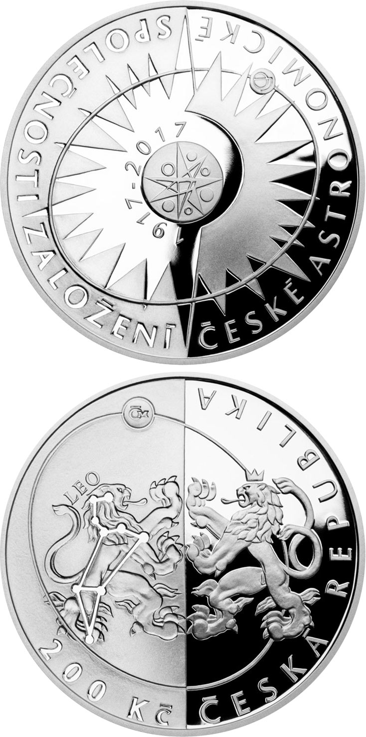 Image of Czech astronomical society – 200 koruna coin Czech Republic 2017.  The Silver coin is of Proof, BU quality.