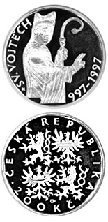 200 korun 1000th anniversary of the death ofSt. Adalbert - 1997 - Series: Silver 200 kronen coins - Czech Republic