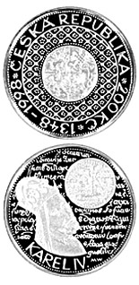 Image of 200 koruna coin – 650th anniversary of the foundation of Charles University in Prague | Czech Republic 1998.  The Silver coin is of Proof, BU quality.