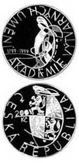 200 korun 200th anniversary of the foundation of Academy of Art and Sculpture - 1999 - Series: Silver 200 kronen coins - Czech Republic