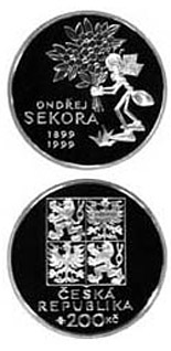 Image of 200 koruna coin - 100th anniversary of the birth of Ondřej Sekora | Czech Republic 1999.  The Silver coin is of Proof, BU quality.