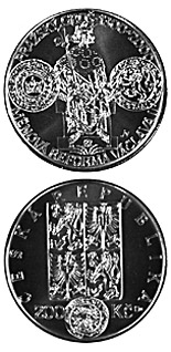 200 koruna coin 700th anniversary of the currency reform by Václav II and the commencement of minting of the Pragergroschen | Czech Republic 2000