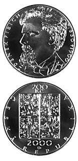 Image of 200 koruna coin 150th anniversary of the birth and 100th anniversary of the death of the composer Zdeněk Fibich | Czech Republic 2000.  The Silver coin is of Proof, BU quality.