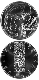 Image of 200th anniversary of birth of the composerFrantišek Škroup – 200 koruna coin Czech Republic 2001.  The Silver coin is of Proof, BU quality.