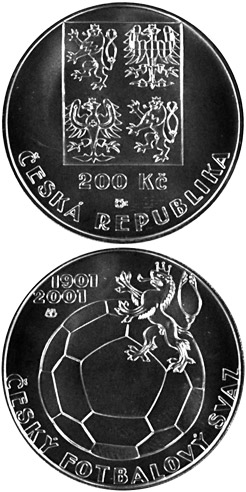 Image of 200 koruna coin – 100th anniversary of the foundation of the Czech Football | Czech Republic 2001.  The Silver coin is of Proof, BU quality.