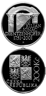 200 korun 250th anniversary of the death of Kilian Ignac Dientzenhofer - 2001 - Series: Silver 200 kronen coins - Czech Republic