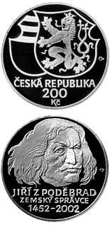 200 koruna coin 550th anniversary: George of Poděbrady appointed Governor of the Crown Lands of Bohemia | Czech Republic 2002