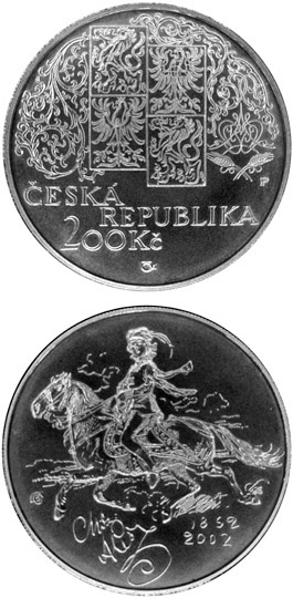 Image of 200 koruna coin - 150th anniversary of the birth of Mikolas Ales, the Czech painter | Czech Republic 2002.  The Silver coin is of Proof, BU quality.