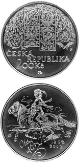 200 koruna coin 150th anniversary of the birth of Mikolas Ales, the Czech painter | Czech Republic 2002
