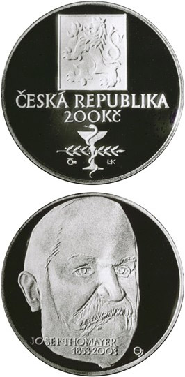 Image of 200 koruna coin – 150th anniversary of the birth of Josef Thomayer | Czech Republic 2003.  The Silver coin is of Proof, BU quality.