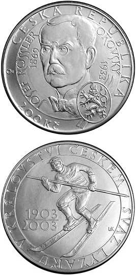 Image of 200 koruna coin 100th anniversary of the foundation of the Skiers' Union in the Kingdom of Bohemia | Czech Republic 2003.  The Silver coin is of Proof, BU quality.