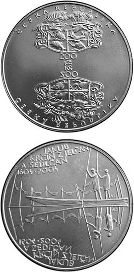 Image of 200 koruna coin – 400th anniversary of the death of Jakub Krčín of Jelčany (pisciculturist) | Czech Republic 2004.  The Silver coin is of Proof, BU quality.