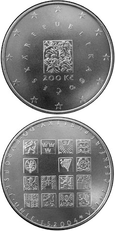 Image of 200 koruna coin - The accession of the Czech Republic to the EU | Czech Republic 2004.  The Silver coin is of Proof, BU quality.