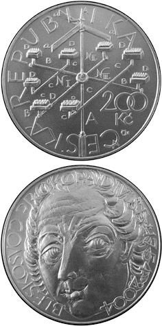 Image of 250th anniversary of contructing of  the lightning conductor by Prokop Diviš – 200 koruna coin Czech Republic 2004.  The Silver coin is of Proof, BU quality.