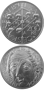 200 koruna coin 250th anniversary of contructing of  the lightning conductor by Prokop Diviš | Czech Republic 2004