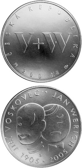 Image of 200 koruna coin – 150th anniversary of the birth of Jan Werich and Jiří Voskovec (Czech actors) | Czech Republic 2005.  The Silver coin is of Proof, BU quality.