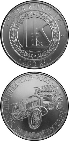 Image of 200 koruna coin - 100th anniversary of the production of the first automobile in Mladá Boleslav | Czech Republic 2005.  The Silver coin is of Proof, BU quality.