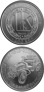 200 korun 100th anniversary of the production of the first automobile in Mladá Boleslav - 2005 - Series: Silver 200 kronen coins - Czech Republic