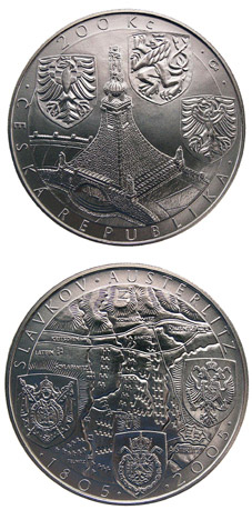 Image of 200 koruna coin 200th anniversary of the battle of Austerlitz | Czech Republic 2005.  The Silver coin is of Proof, BU quality.