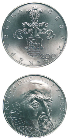 Image of 450th anniversary of the birth of Mikuláš Dačický of Heslov (poet, politician) – 200 koruna coin Czech Republic 2005.  The Silver coin is of Proof, BU quality.