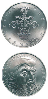 200 korun 450th anniversary of the birth of Mikuláš Dačický of Heslov (poet, politician) - 2005 - Series: Silver 200 kronen coins - Czech Republic
