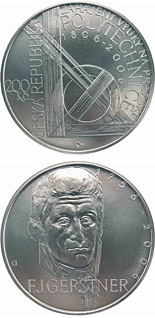 200 koruna coin 250th anniversary of the birth of physicist and engineer František Josef Gerstner200th anniversary of the teaching starts at the Prague Polytechnic University | Czech Republic 2006