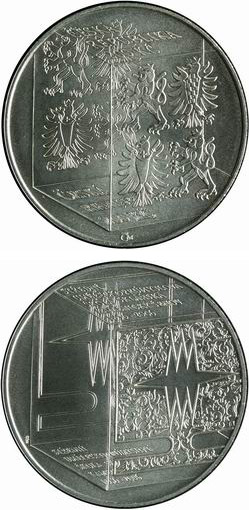 Image of 200 koruna coin - 150th anniversary of the foundation of the School of Glassmaking in Kamenický Šenov | Czech Republic 2006.  The Silver coin is of Proof, BU quality.