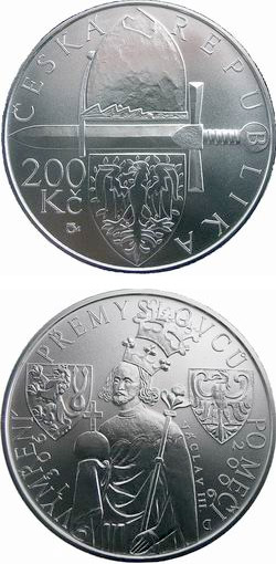 Image of 200 koruna coin - 700th anniversary of the male line of the Premyslid dynasty ends with the death of Wenceslas III | Czech Republic 2006.  The Silver coin is of Proof, BU quality.