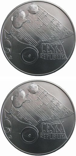 Image of 200 koruna coin 100th anniversary of birth of composer Jaroslav Ježek 20 September 2006 | Czech Republic 2006.  The Silver coin is of Proof, BU quality.