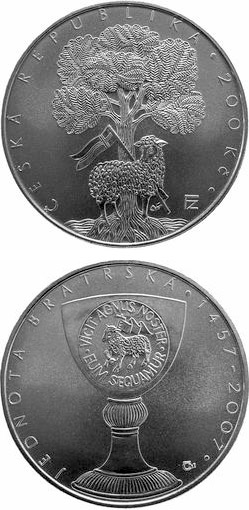 Image of 200 koruna coin – 550 anniversary of foundation of Jednota bratrská (Unitas Fratrum) | Czech Republic 2007.  The Silver coin is of Proof, BU quality.