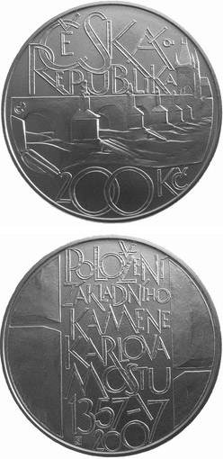 Image of a coin 200 korun | Czech Republic | 650th anniversary of laying of the foundation stone of Charles Bridge in Prague | 2007