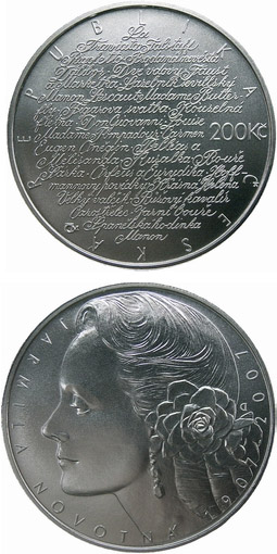 Image of 200 koruna coin – 100th anniversary of birth of opera singer Jarmila Novotná | Czech Republic 2007.  The Silver coin is of Proof, BU quality.