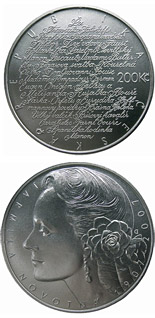 200 koruna coin 100th anniversary of birth of opera singer Jarmila Novotná | Czech Republic 2007