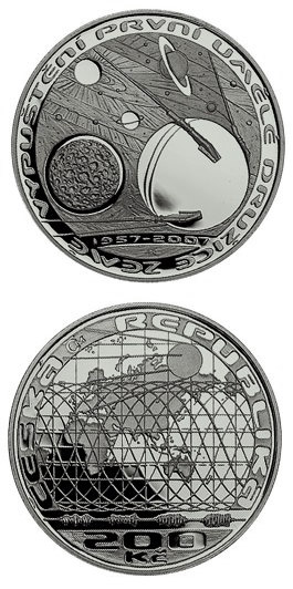 Image of 200 koruna coin - 50th anniversary of launch of the first Earth satellite | Czech Republic 2007.  The Silver coin is of Proof, BU quality.