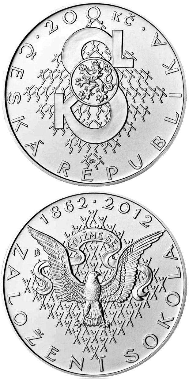 Image of 200 koruna coin – Foundation of Sokol movement | Czech Republic 2012.  The Silver coin is of Proof, BU quality.
