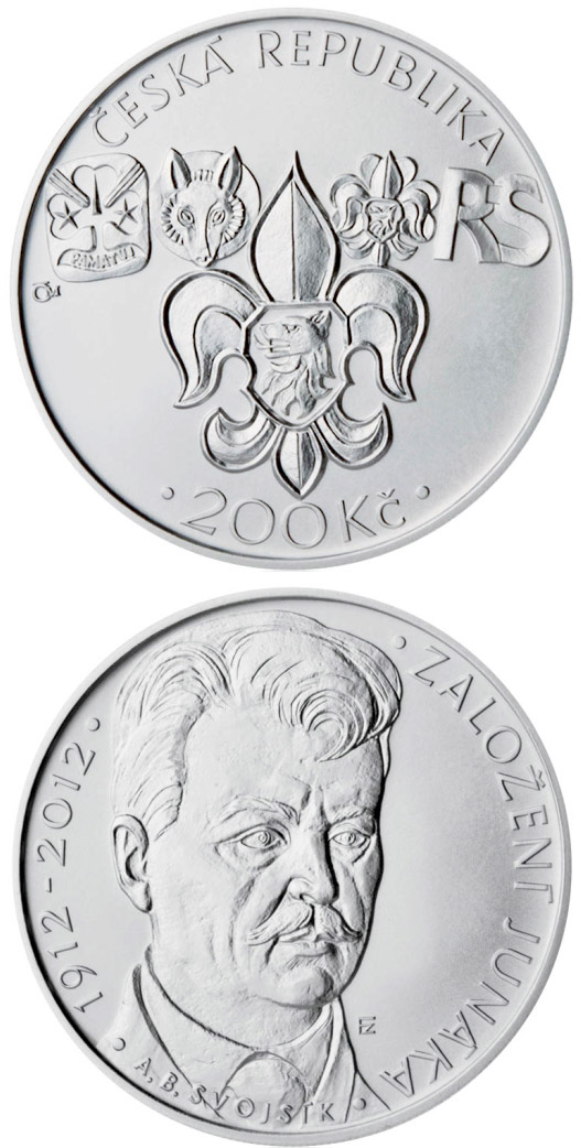 Image of 200 koruna coin – Foundation of Junák scout movement | Czech Republic 2012.  The Silver coin is of Proof, BU quality.