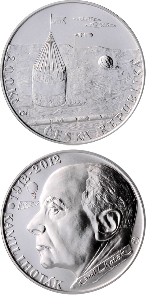 Image of Birth of painter Kamil Lhoták – 200 koruna coin Czech Republic 2012.  The Silver coin is of Proof, BU quality.