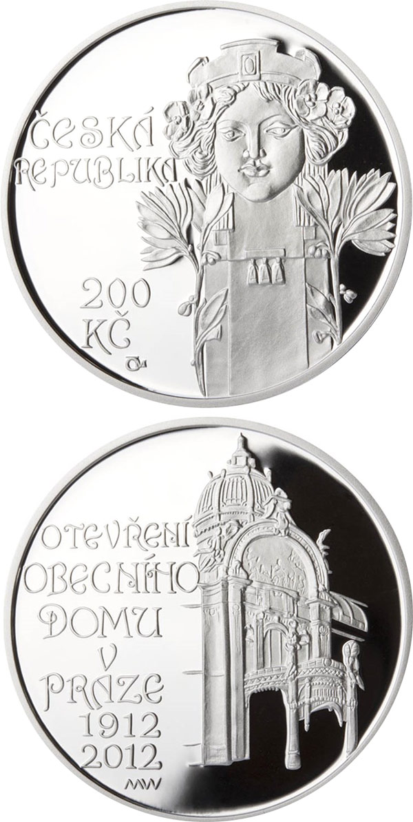 Image of 200 koruna coin - Opening of Municipal house in Prague | Czech Republic 2012.  The Silver coin is of Proof, BU quality.