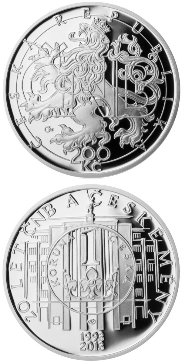 Image of 200 koruna coin 20 years of the CNB and Czech currency | Czech Republic 2013.  The Silver coin is of Proof, BU quality.