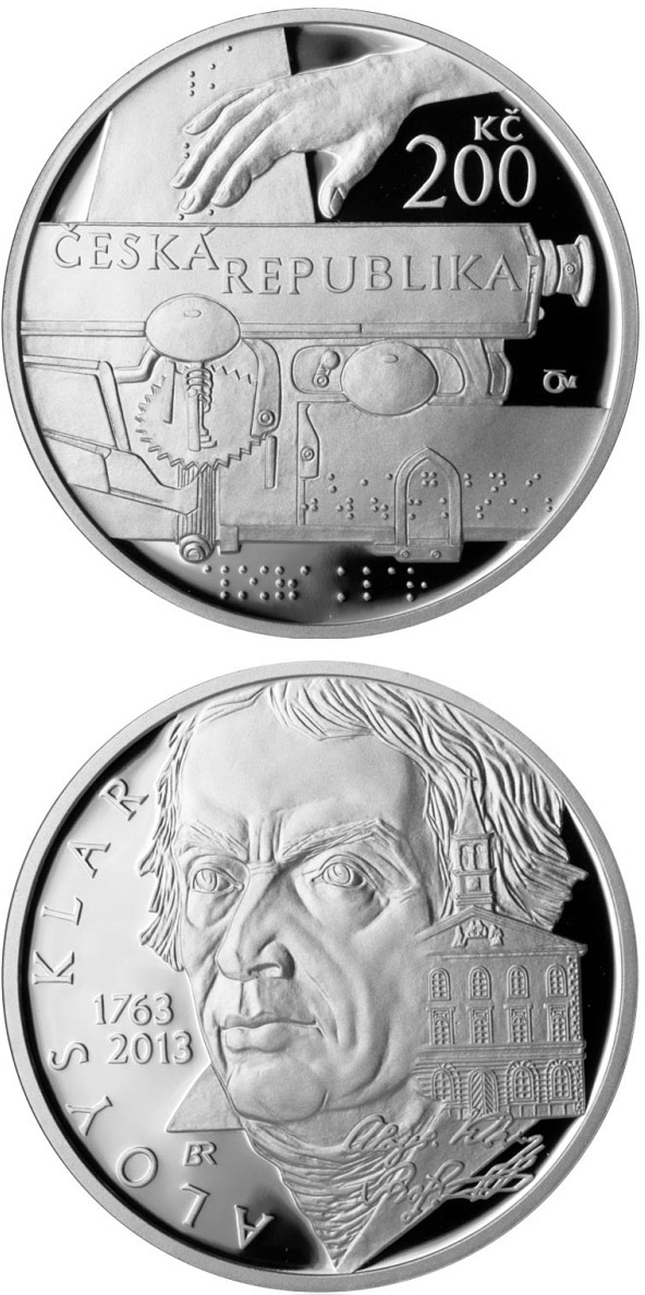 Image of 200 koruna coin – Birth of philologist and philanthropist Aloys Klar | Czech Republic 2013.  The Silver coin is of Proof, BU quality.