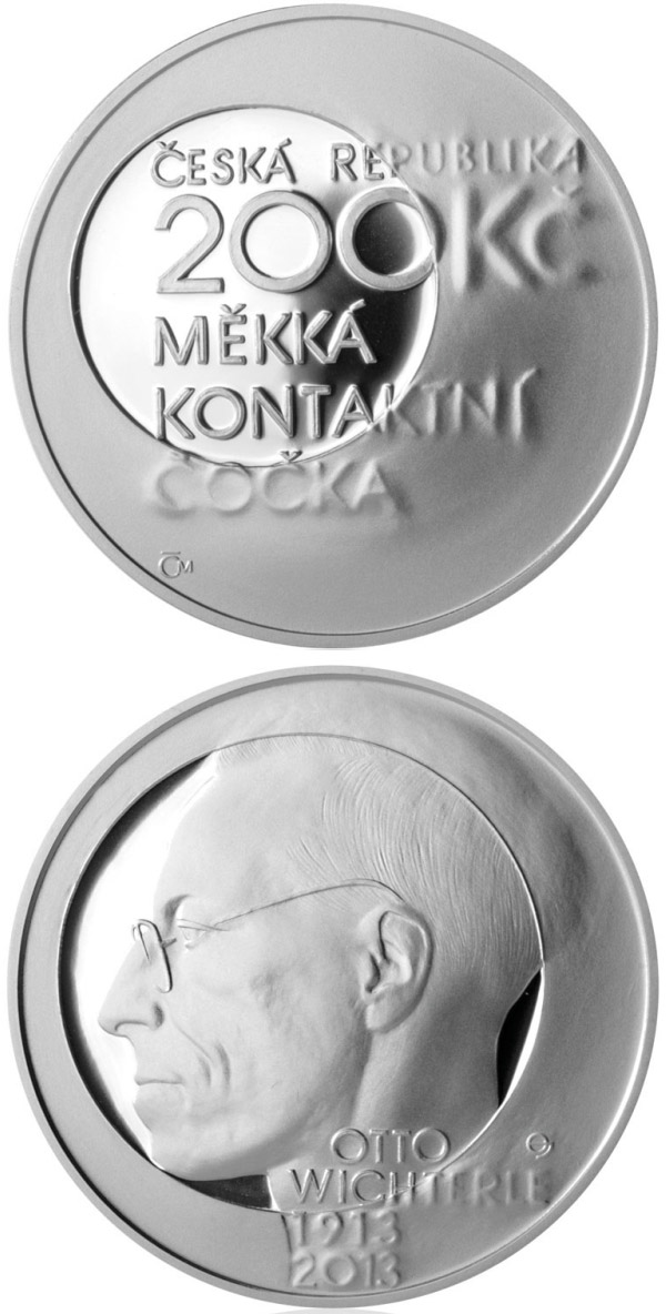 Image of 200 koruna coin – Birth of inventor and chemist Otto Wichterle | Czech Republic 2013.  The Silver coin is of Proof, BU quality.